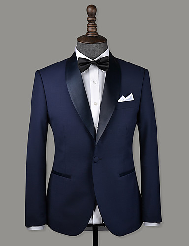 저렴한 남자의 맞춤 양복-네이비 블루 울 맞춤 턱시도