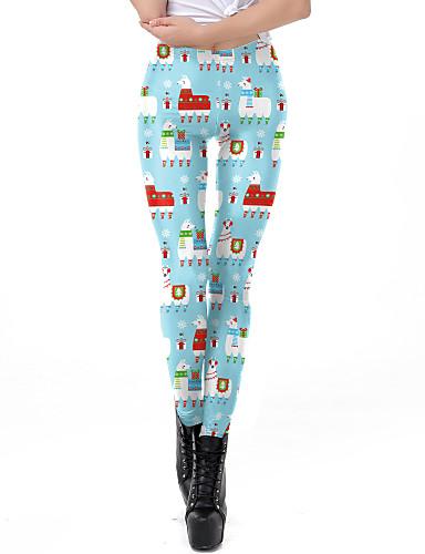 preiswerte Hosen & Röcke für Damen-Damen Alltagskleidung / Yoga Sportlich / Grundlegend Legging - Geometrisch, Druck Mittlere Taillenlinie Leicht Blau S M L