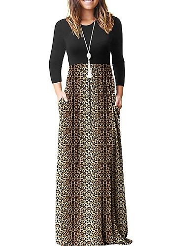 levne Maxi šaty-Dámské Elegantní Shift Šaty - Leopard Maxi