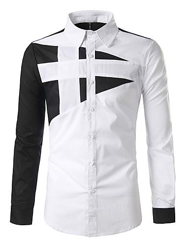 baratos Camisas Masculinas-Homens Camisa Social Básico Estampado, Geométrica Preto