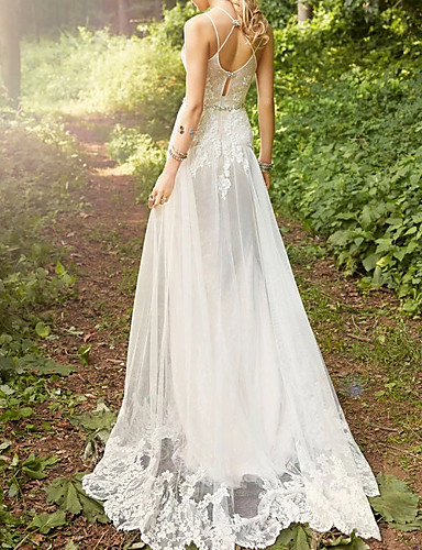 cheap Wedding Dresses-A-Line Sweetheart Neckline Court Train Lace / Tulle Spaghetti Strap Wedding Dresses with Sashes / Ribbons 2020