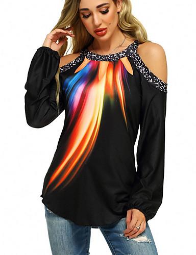 baratos 2020 Tendência-Mulheres Camiseta Galáxia Preto
