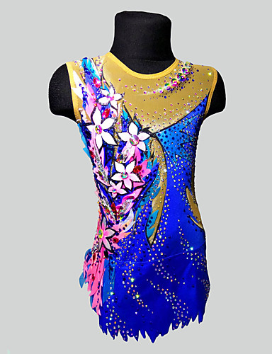 Collant Para Ginástica Rítmica Collants Para Ginástica Artística Mulheres Para Meninas Collant Azul Elastano Elasticidade Alta Confeccionada à Mão Adornado Brilhante Manga Longa Competição Dança