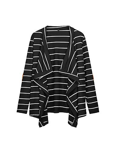 levne Dámské kabáty a trenčkoty-Dámské Denní Základní Podzim Standardní Trenčkot, Proužky Přehnutý Dlouhý rukáv Polyester Černá / Bílá