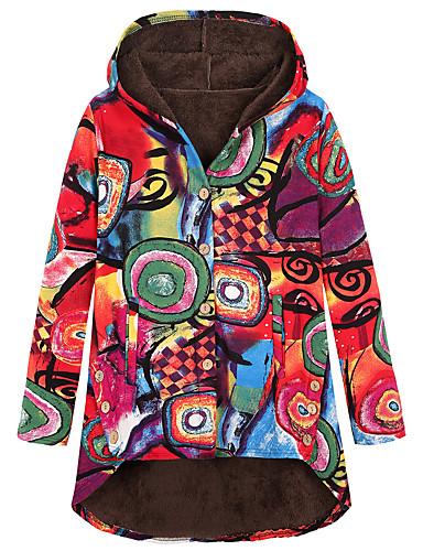 levne Dámské kabáty a trenčkoty-Dámské Denní Podzim zima Standardní Kabát, Batikované Kapuce Dlouhý rukáv Polyester / Směs vlny Bílá / Fuchsiová / Oranžová