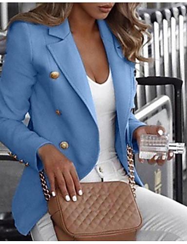 cheap Women's Outerwear-Women's Blazer Daily Notch Lapel Classic Regular Solid Colored White / Black / Blue S / M / L
