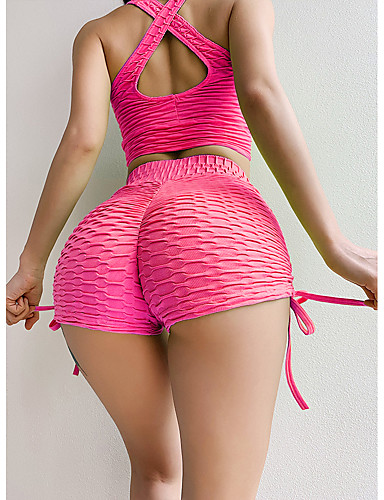 cheap Exercise & Fitness Clothing Hot Seller-Women's High Waist Yoga Shorts Ruched Butt Lifting Jacquard Black White Green Pink Grey Running Fitness Gym Workout Shorts Sport Activewear Butt Lift Tummy Control Power Flex Squat Proof High