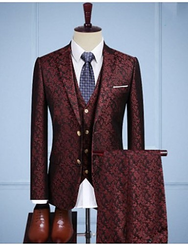 cheap Men's Custom Suits-Burgundy vintage jacquard Custom Suit