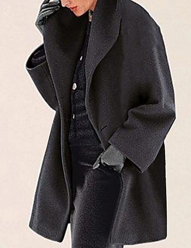 levne Dámské kabáty a trenčkoty-Dámské Denní Podzim zima Dlouhé Kabát, Jednobarevné Přehnutý Dlouhý rukáv Polyester Černá / Světle modrá / Bílá