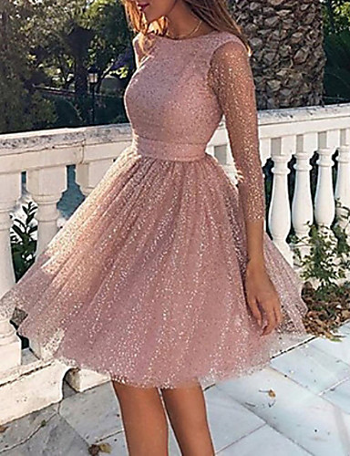cheap Party Dresses-Women's Loose Dress - Long Sleeve Solid Colored Backless Mesh Spring Fall Elegant Sexy Cocktail Party Going out Birthday 2020 Blushing Pink S M L XL XXL