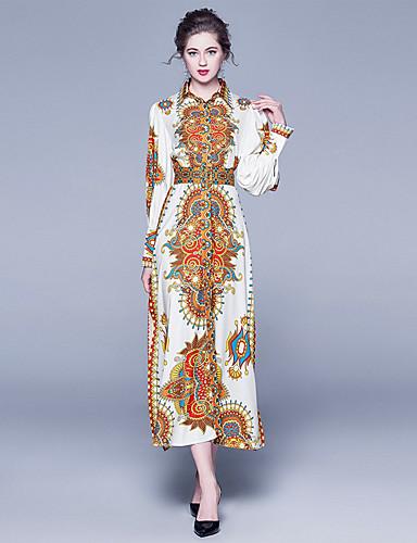 levne Maxi šaty-Dámské Sofistikované Pouzdro Šaty - Geometrický, Rozparek Tisk Maxi Bílá