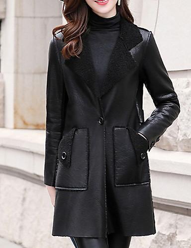 preiswerte Damen Leder- & Kunstlederjacken-Damen Alltag Standard Lederjacken, Solide Umlegekragen Langarm Polyester Schwarz