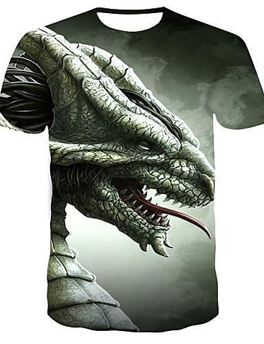 Homens Camiseta Estampado, 3D Cinzento