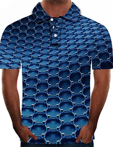 levne Pánská polo trika-Pánské - Barevné bloky / 3D / Grafika Šik ven / Přehnaný Polo, Tisk Vodní modrá