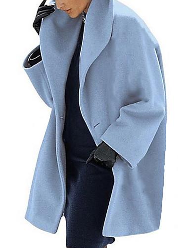 저렴한 여성 아웃웨어-여성용 코트 일상 긴 솔리드 블랙 / 브라운 / 밝은 블루 S / M / L