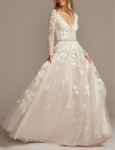 cheap Wedding Dresses-A-Line V Neck Court Train Tulle Long Sleeve See-Through / Backless / Illusion Sleeve Wedding Dresses with Beading / Appliques 2020