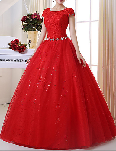 cheap Wedding Dresses-A-Line Jewel Neck Floor Length Lace Short Sleeve Wedding Dresses with Lace Insert / Appliques 2020