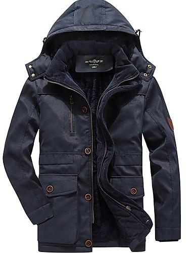 levne Pánské kabáty a parky-Pánské Jednobarevné S vycpávkou, Polyester Armádní zelená / Vodní modrá / Khaki US32 / UK32 / EU40 / US34 / UK34 / EU42 / US36 / UK36 / EU44