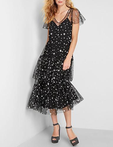 preiswerte Kleider für besondere Anlässe-A-Linie Tiefer Ausschnitt Tee-Länge Tüll Kleid mit Muster / Druck / Mehrlagiger Rock durch LAN TING Express