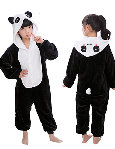 preiswerte Spielzeug & Hobby Artikel-Kinder Kigurumi Kigurumi-Pyjamas Panda Tier Pyjamas-Einteiler Flanell Vlies Schwarz / Weiß Cosplay Für Tiernachtwäsche Karikatur Fest / Feiertage Kostüme