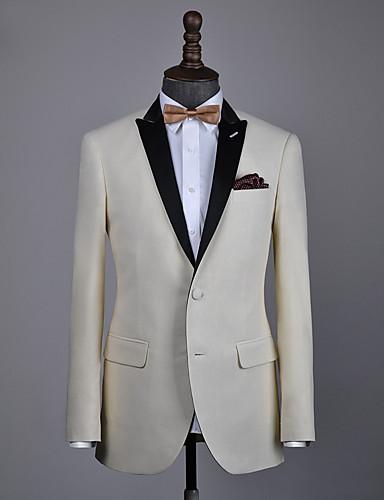 저렴한 남자의 맞춤 양복-베이지 색 울 맞춤 턱시도