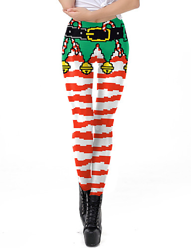 preiswerte Hosen & Röcke für Damen-Damen Alltagskleidung / Yoga Sportlich / Grundlegend Legging - Geometrisch, Druck Mittlere Taillenlinie Rote S M L