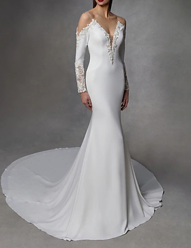 cheap Wedding Dresses-Mermaid / Trumpet V Neck Court Train Stretch Satin / Lace Over Satin Long Sleeve Wedding Dresses with Embroidery 2020