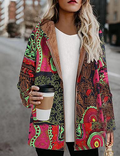 levne Dámské kabáty a trenčkoty-Dámské Denní Dlouhé Kabát, Geometrický Kapuce Dlouhý rukáv Polyester Světlá růžová