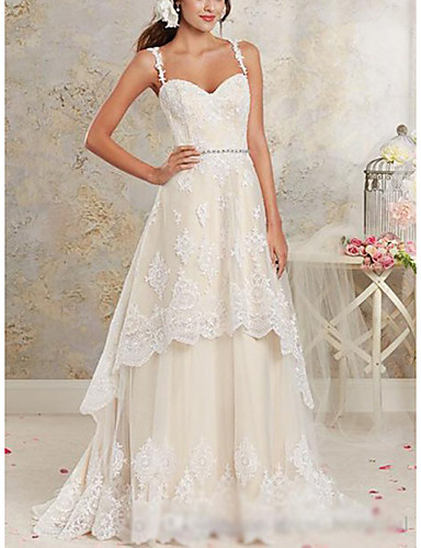 cheap Wedding Dresses-A-Line Sweetheart Neckline Sweep / Brush Train / Asymmetrical Lace / Tulle / Lace Over Satin Spaghetti Strap Cute Wedding Dresses with Appliques 2020