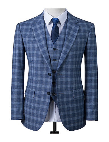 저렴한 남자의 맞춤 양복-스코틀랜드 블루 체크 무늬 울 맞춤 양복