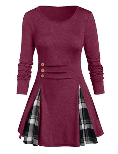 levne Šaty velkých velikostí-Dámské Základní Šik ven Swing Šaty - Barevné bloky Jednobarevné, Patchwork Nad kolena