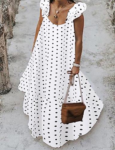 levne Maxi šaty-Dámské Elegantní Shift Šaty - Puntíky Maxi
