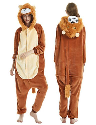 preiswerte Spielzeug & Hobby Artikel-Erwachsene Kigurumi-Pyjamas Löwe Pyjamas-Einteiler Flanell Braun Cosplay Für Herren und Damen Tiernachtwäsche Karikatur Fest / Feiertage Kostüme