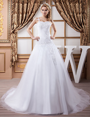 cheap Wedding Dresses-A-Line Square Neck Court Train Lace / Satin / Tulle Spaghetti Strap Wedding Dresses with Ruched / Beading / Appliques 2020