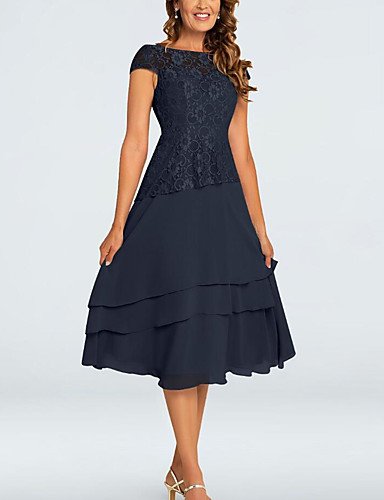 cheap Mother of the Bride Dresses-A-Line Mother of the Bride Dress Plus Size Jewel Neck Tea Length Chiffon Short Sleeve with Lace Tier 2020 Mother of the groom dresses