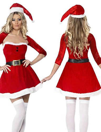 preiswerte Weihnachten Kostüme-Weihnachtsbäume Kleid Damen Erwachsene Kostüm-Party Weihnachten Weihnachten Samt Kleid / Gürtel / Hut
