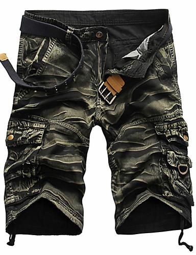 cheap Men's Bottoms-Men's Street chic Military Slim Cotton Shorts Tactical Cargo Pants - Striped Camouflage Black Red Army Green US32 / UK32 / EU40 / US34 / UK34 / EU42 / US36 / UK36 / EU44