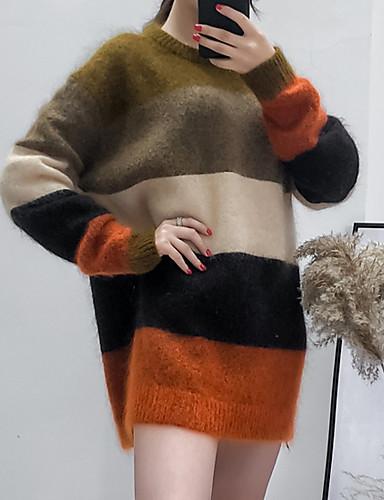 preiswerte Damen Oberteile-Damen Einfarbig Langarm Pullover Pullover Jumper Blau / Khaki S / M / L