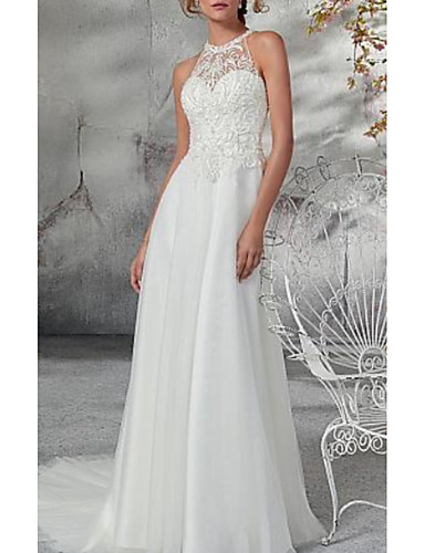 cheap Wedding Dresses-A-Line High Neck Court Train Chiffon / Tulle Regular Straps Wedding Dresses with Appliques 2020