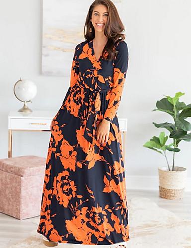 baratos Vestidos Longos-Mulheres Camiseta Vestido Floral Longo