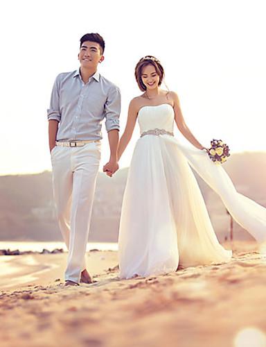 cheap Wedding Dresses Under $100-A-Line Strapless Floor Length Chiffon Strapless Romantic / Beach Sparkle & Shine Wedding Dresses with Draping 2020