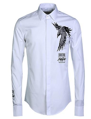 levne Pánské košile-Pánské - Zvíře Košile Bílá