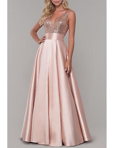 billige Bestselgende kjoler-A-linje V-hals Gulvlang Sateng Glitrende / Rosa Skoleball / Formell kveld Kjole med Paljett / Plissert 2020
