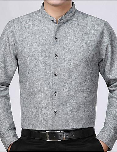 levne Pánské košile-Pánské - Jednobarevné Košile Světle šedá