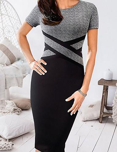 levne Pracovní šaty-Dámské Bodycon Šaty - Barevné bloky Délka ke kolenům