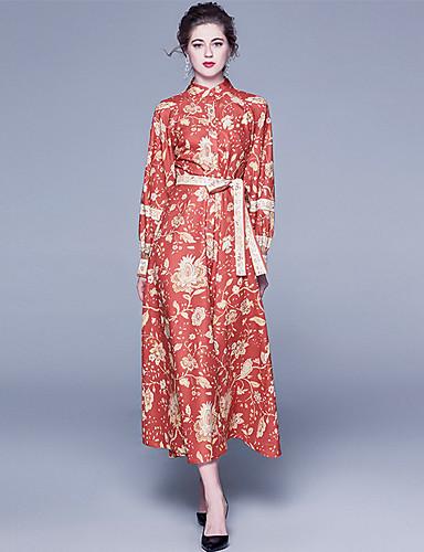 levne Maxi šaty-Dámské Elegantní A Line Šaty - Květinový, Tisk Maxi Červená