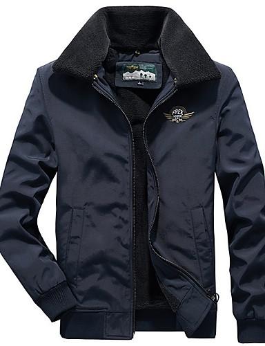 levne Pánská saka a kabáty-Pánské Denní Podzim zima Standardní Bunda, Jednobarevné Přehnutý Dlouhý rukáv Polyester Armádní zelená / Námořnická modř / Khaki