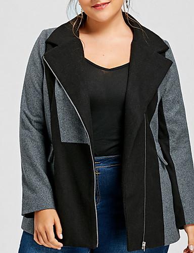 levne Dámské kabáty a trenčkoty-Dámské Denní Podzim zima Standardní Kabát, Barevné bloky Do V Dlouhý rukáv Polyester Šedá