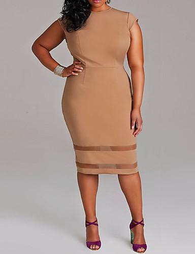 levne Šaty velkých velikostí-Dámské Šik ven Elegantní Bodycon Pouzdro Šaty - Jednobarevné, Patchwork Délka ke kolenům