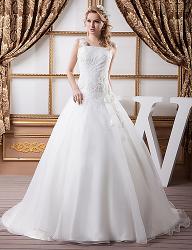 cheap Wedding Dresses-Ball Gown Wedding Dresses Square Neck Court Train Organza Satin Spaghetti Strap with Ruched Beading 2020